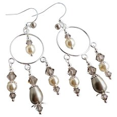 Platinum Colored Swarovski Faux Pearl and Crystal Chandelier Hoop Earrings