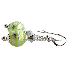 Lime Green and White Gold Foil Murano Glass Dangle Earrings