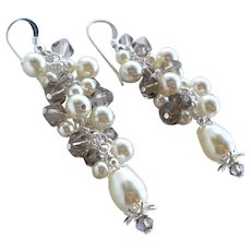 Cream Swarovski Faux Pearl Greige Swarovski Crystal Long Cluster Earrings
