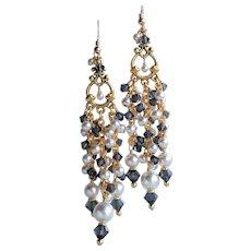 White Swarovski Faux Pearl Chandelier Earrings With Dark Gray Swarovski Crystals