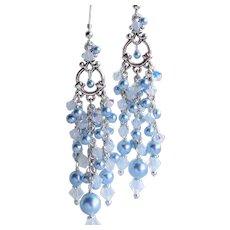 Light Blue Swarovski Faux Pearl and Crystal Long Chandelier Earrings
