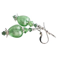 Green Murano Glass Heart Earrings With Swarovski Crystals - White Gold Foil