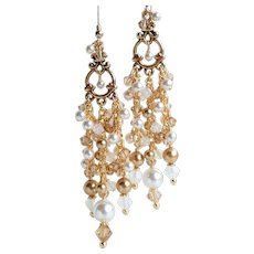 White Gold Faux Pearl and Crystal Long Chandelier Statement Earrings