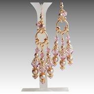 Swarovski Light Amethyst Crystal Champagne Faux Pearl Chandelier Earrings
