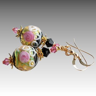 Pink Black Floral Murano Glass 24 KT Gold Foil Bead Earrings