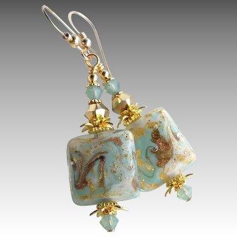 Aqua White 24 Kt Gold Foil Murano Glass Swarovski Crystal Earrings
