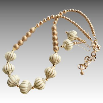 Ivory and Gold Colored Acrylic Beaded Necklace Earrings SET