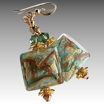 Murano Glass Earrings In Green Gold and Copper Colors