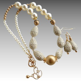Ivory and Gold Colored Acrylic Beaded Necklace Earrings SET With Cream Swarovski Faux Pearls
