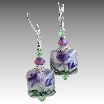 Purple Iris Flower Lampwork Glass Earrings With Swarovski Crystals