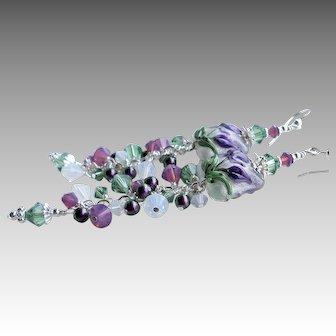 Purple Green White Floral Iris Lampwork Long Swarovski Crystal Earrings