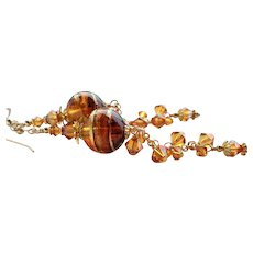Topaz and Copper Colored Murano Long Glass Earrings With Swarovski Crystals