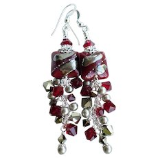 Dark Red Long Lampwork Statement Earrings With Swarovski Crystals and Faux Pearls