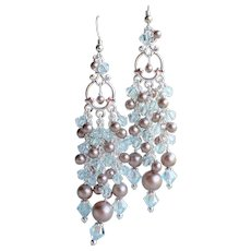 Champagne Faux Pearl Swarovski Aqua Crystal Chandelier Earrings