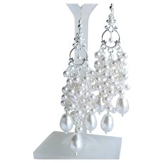 White Swarovski Faux Pearl Ornate Cluster Chandelier Long Earrings