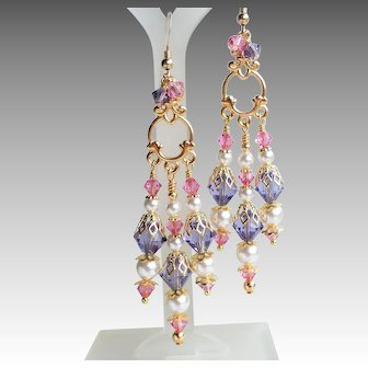 Pink Purple Crystal White Faux Pearl Long Chandelier Earrings