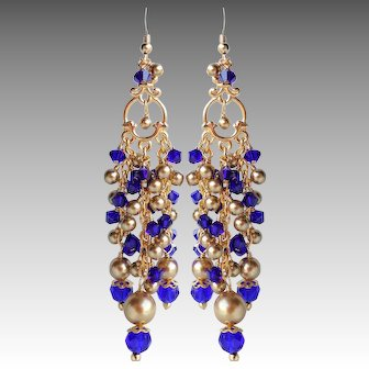 Cobalt Blue Swarovski Crystal Long Chandelier Earrings With Gold Colored Faux Pearls