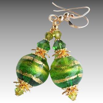Green Gold Murano Glass Swarovski Crystal Earrings