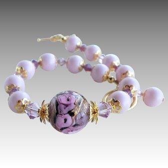Pink Purple Murano Glass Swarovski Faux Pearl Bracelet