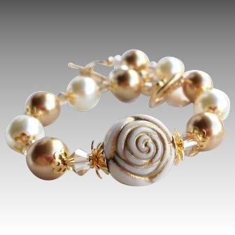 Resin Acrylic Rose Bead Bracelet With Swarovski Faux Pearls