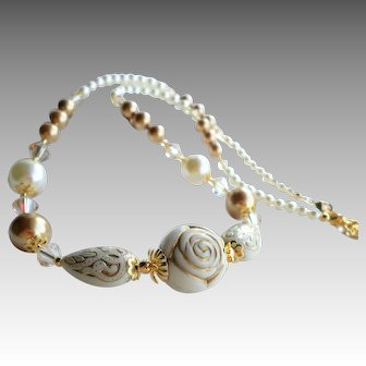 Ivory Resin Bead Necklace With Gold and Cream Swarovski Faux Pearls