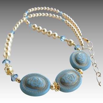 Acrylic Bead Necklace In Blue With Gold Swarovski Faux Pearls
