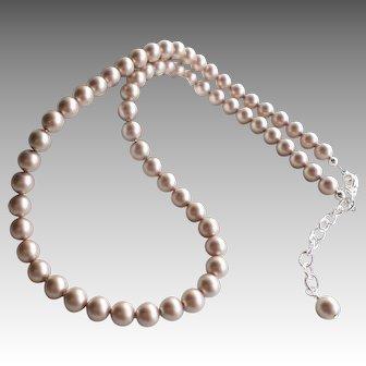 Champagne Powder Almond Colored Swarovski Faux Pearl Single Strand Necklace