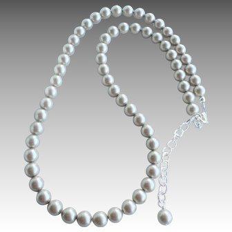 Platinum Colored Swarovski Faux Pearl Classic Single Strand Necklace