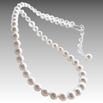 White Swarovski Faux Pearl Classic Single Strand Necklace