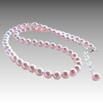 Light Pink Swarovski Faux Pearl Classic Single Strand Necklace