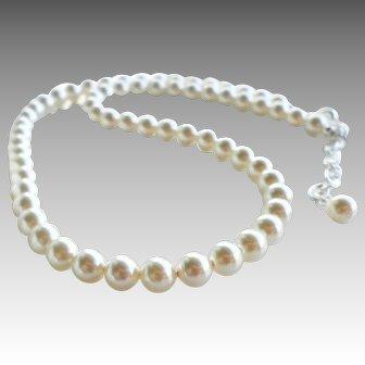 Cream Colored Swarovski Faux Pearl Classic Single Strand Necklace