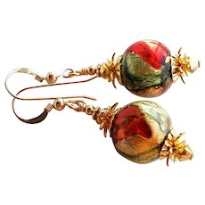 Red Green Gold Colored Murano Glass Earrings