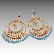 Swarovski Aquamarine Colored Crystal and Gold Faux Pearl Chandelier Hoop Earrings