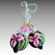 Pink and Black Floral Lampwork Earrings with Swarovski Crystals