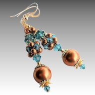 Copper Swarovski Faux Pearl and Teal Swarovski Crystal Cluster Earrings
