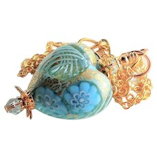 Blue Murano Glass Heart Shaped Necklace