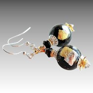 Black Gold Silver Murano Glass Earrings