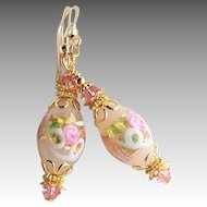 Murano Glass Earrings White and Pink