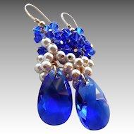 Cobalt Blue White Faux Pearl Swarovski Crystal Cluster Earrings