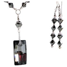 Swarovski Crystal Silver Night Colored Necklace Earrings Set - Red Tag Sale Item