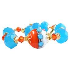 Orange Blue Lampwork Glass Bracelet