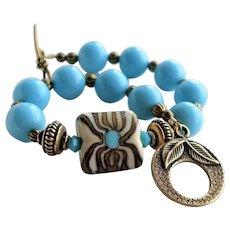 Blue Brown Lampwork Glass Bracelet