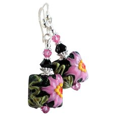 Pink Black Green Floral Lampwork Earrings with Swarovski Crystals