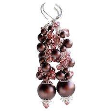 Brown Pink Swarovski Crystal Faux Pearl Long Cluster Earrings