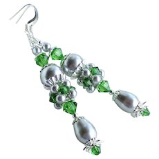 Silver Swarovski Faux Pearl Green Crystal Long Cluster Earrings