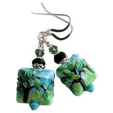 Blue Green Lampwork Glass Earrings