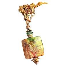 Green Gold Copper Colored Murano Glass Pendant Necklace