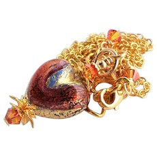 Murano Red Copper Pink Colored Glass Heart Pendant Necklace