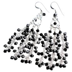 Black Swarovski Crystal Long Chandelier Earrings