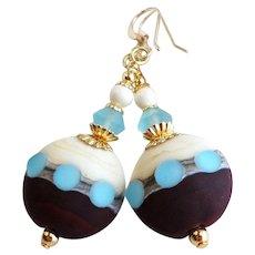 Blue Brown Cream Lampwork Earrings